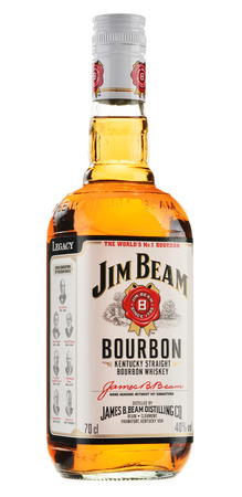 whisky bottle: Jim Beam is one of best selling brands of bourbon in the world, produced by Beam Inc  in Clermont, Kentucky  Editorial
