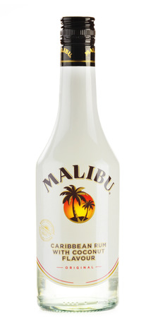 liqueur labels: Malibu Rum is a flavored rum-based liqueur made with natural coconut extract, produced by West Indies Rum Distillery Ltd  on Barbados