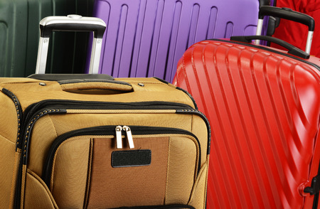 customs: Composition with colorful travel suitcases Stock Photo
