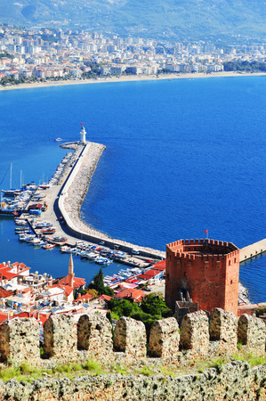 View of Alanya harbor from Alanya peninsula. Turkish Riviera photo