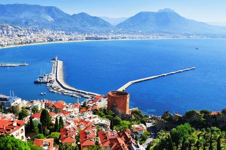 View of Alanya harbor from Alanya peninsula. Turkish Riviera photo