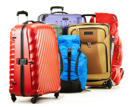 Luggage consisting of large suitcases and rucksacks isolated on white. Stockfoto