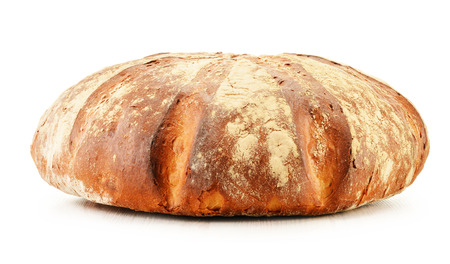 baking bread: Large loaf of traditionally baked bread isolated on white Stock Photo