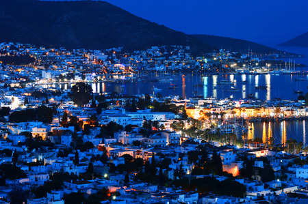 View of Bodrum harbor by night. Turkish Riviera. photo