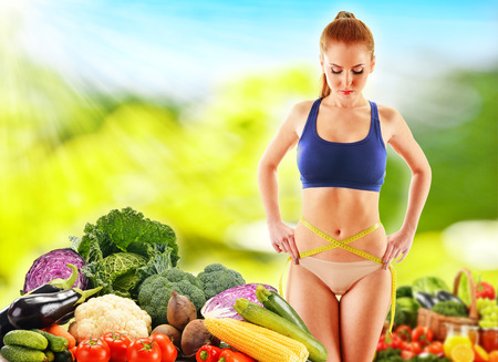 balanced diet: Dieting. Balanced diet based on raw organic vegetables