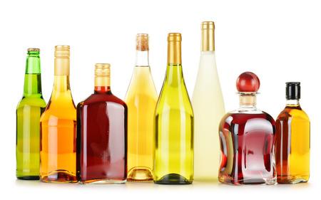 alcoholic drink: Bottles of assorted alcoholic beverages isolated on white background
