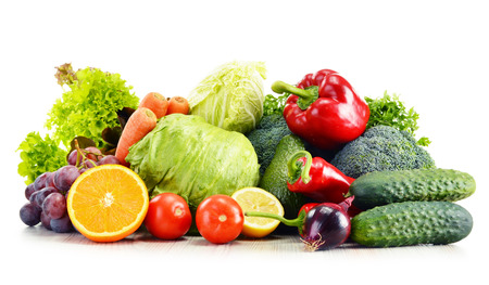 Organic vegetables isolated on white background