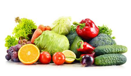 detoxification: Organic vegetables isolated on white background