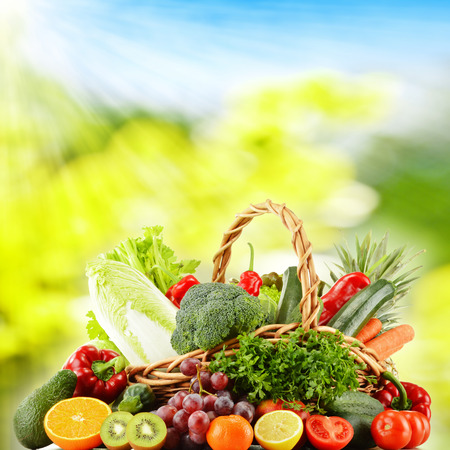 Wicker basket with groceries  Stock Photo