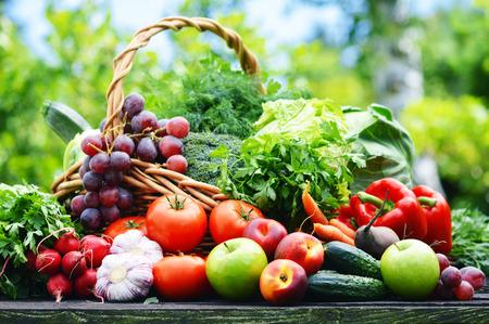 albero frutta: Verdure organiche fresche in cestino di vimini in giardino