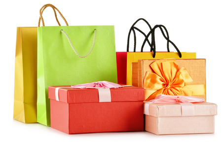gift bags: Gift boxes and colorful gift bags isolated on white background