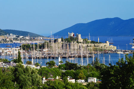 riviera: View of Bodrum harbor during hot summer day in Turkish Riviera