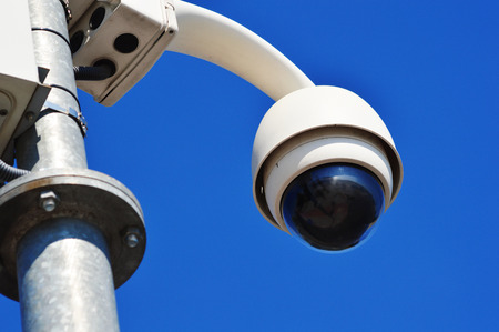 dome type: Hi-tech dome type camera over  blue sky Stock Photo