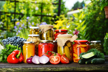 Jars of pickled vegetables in the garden  Marinated food Stockfoto
