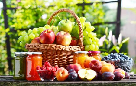 alimentacion balanceada: Frutas orgánicas frescas maduras en el jardín dieta equilibrada Foto de archivo