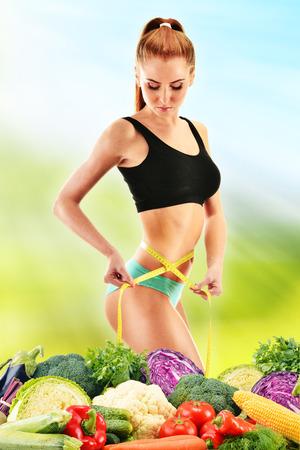 Dieting  Balanced diet based on raw organic vegetables photo