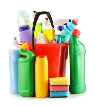 cleaning supplies: Detergent bottles isolated on white  Chemical cleaning supplies isolated on white