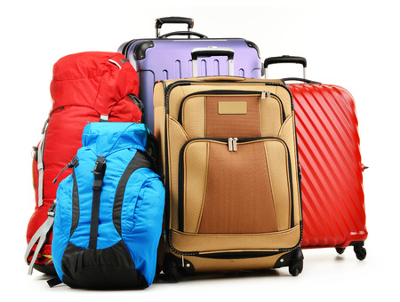 packing suitcase: Luggage consisting of large suitcases and rucksacks isolated on white