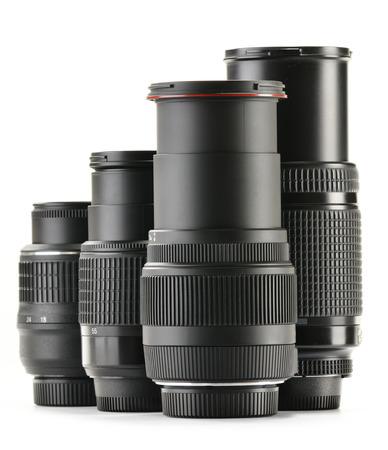 light zoom: Photo zoom lenses isolated on white background.