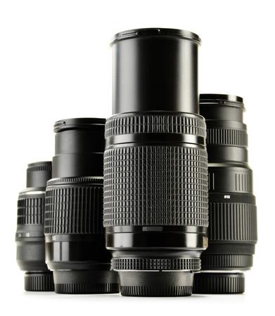optical equipment: Photo zoom lenses isolated on white background.