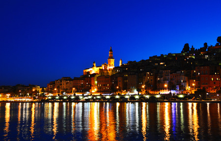 menton: City of Menton by night. French Riviera.