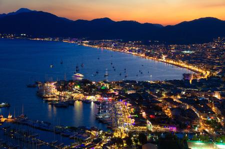 turkey beach: View of Marmaris harbor on Turkish Riviera by night Stock Photo