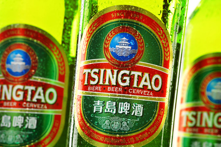 Tsingtao beer, product of Tsingtao Brewery, China's second largest brewery located in Qingdao in Shandong province Redactioneel
