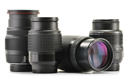Photo zoom lenses isolated on white background.