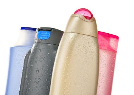 jabon liquido: Composición con botellas de plástico de productos de cuidado corporal y belleza.