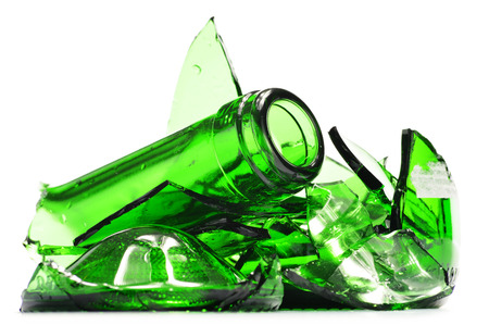 broken glass: Pieces of broken glass over white background. Recycling. Stock Photo