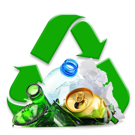 recycle sign: Composition with recyclable garbage consisting of glass, plastic, metal and paper isolated on white background