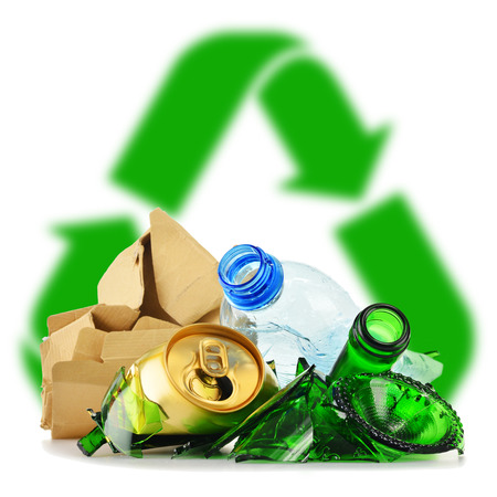 paper container: Composition with recyclable garbage consisting of glass, plastic, metal and paper isolated on white background