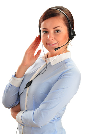 customer service representative: Call center operator. Customer support. Help desk. Stock Photo