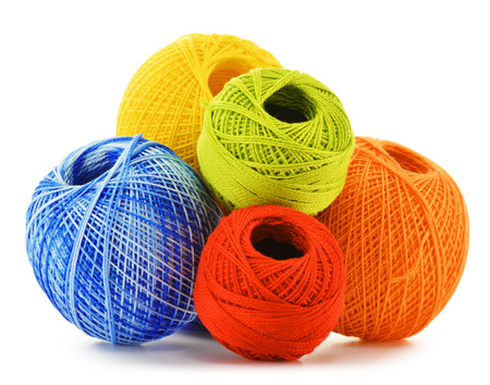 crochet: Colorful yarns for crocheting isolated on white background