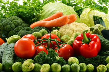 Composition with assorted raw organic vegetables Stock Photo