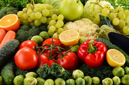 Composition with assorted raw organic vegetables photo