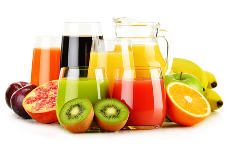 non alcoholic beverage: Composition with glasses of assorted fruit juices isolated on white. Detox diet