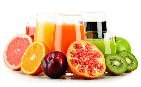 alcoholic drink: Composition with glasses of assorted fruit juices isolated on white. Detox diet
