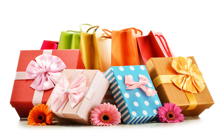 gift bags: Colorful gift boxes and bags isolated on white background.