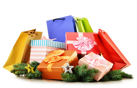 gift bags: Colorful gift boxes and paper bags isolated on white background. Stock Photo