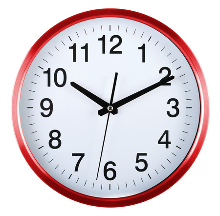 wall clock: Wall clock isolated on white background. Ten past ten