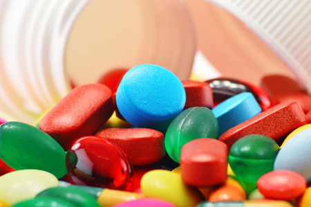 pain killer: Composition with variety of drug pills and container