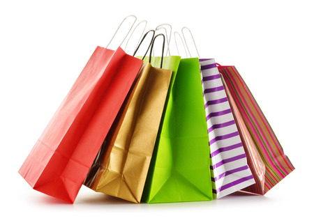 gift bags: Paper shopping bags isolated on white background Stock Photo