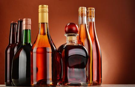 light duty: Bottles of assorted alcoholic beverages.
