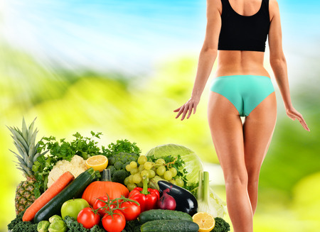 balanced diet: Dieting. Balanced diet based on raw organic vegetables and fruits