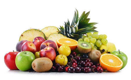 balanced diet: Composition with variety of fresh fruits. Balanced diet.