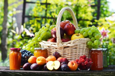 grocery basket: Fresh ripe organic fruits in the garden. Balanced diet. Stock Photo