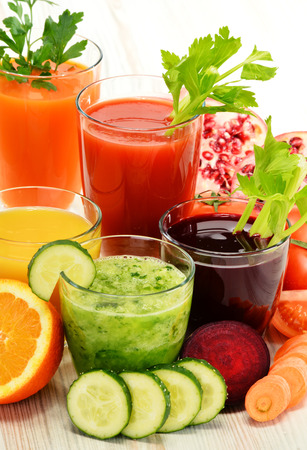 Glasses with fresh organic vegetable and fruit juices Detox diet.