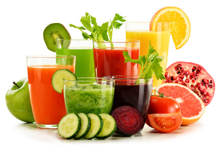 of fruit: Glasses with fresh organic vegetable and fruit juices isolated on white. Detox diet.