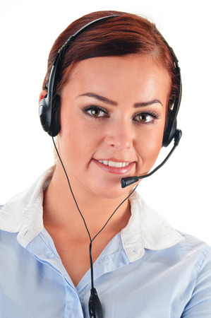 helpdesk: Call center operator isolated on white. Customer support. Helpdesk.